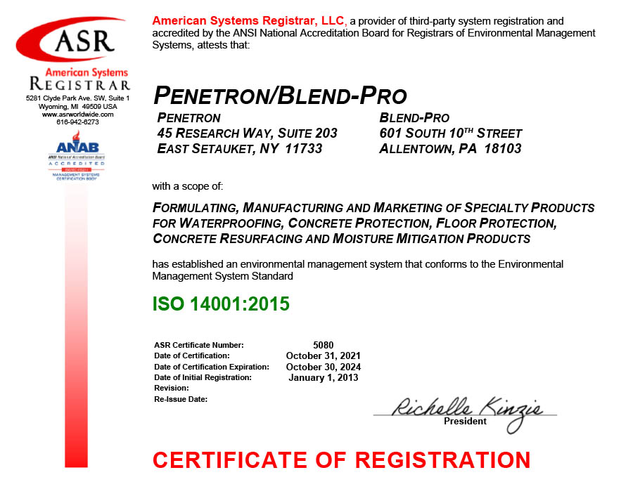 Penetron International Certificate ISO 14001