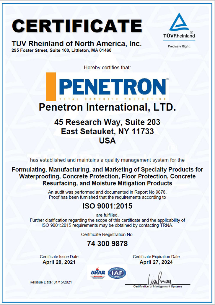 Penetron International Certificate ISO 9001