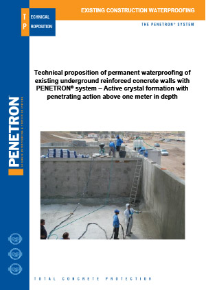 Existing Construction Penetron System Crystalline Waterproofing